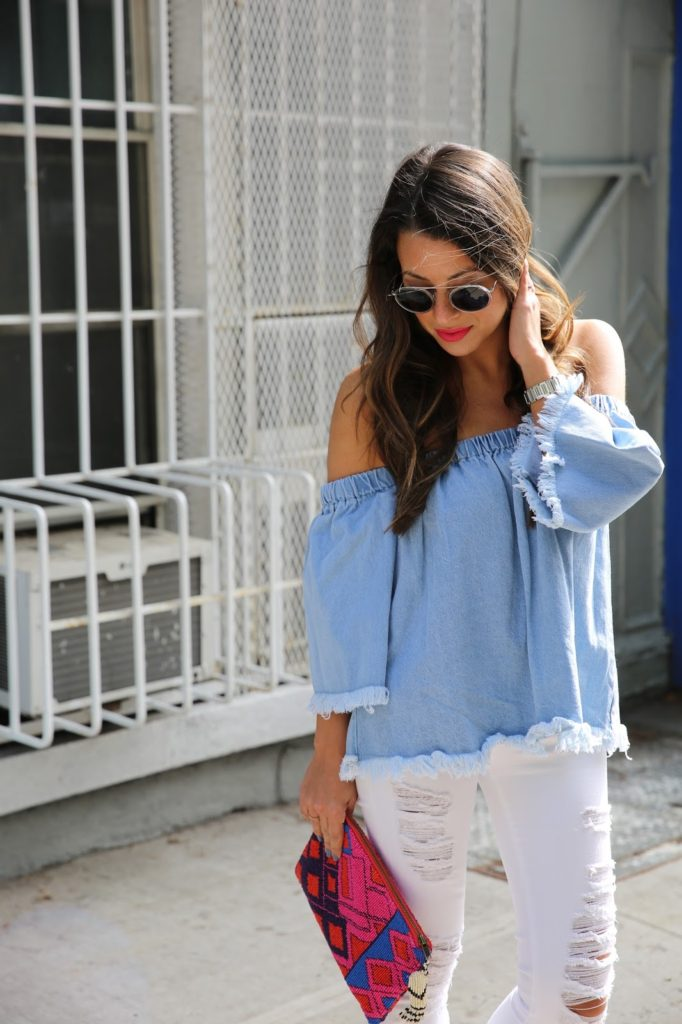 c5b497e4cf708 I figured what better way to start off the holiday then with the cutest frayed  off the shoulder denim top and white skinny jeans.