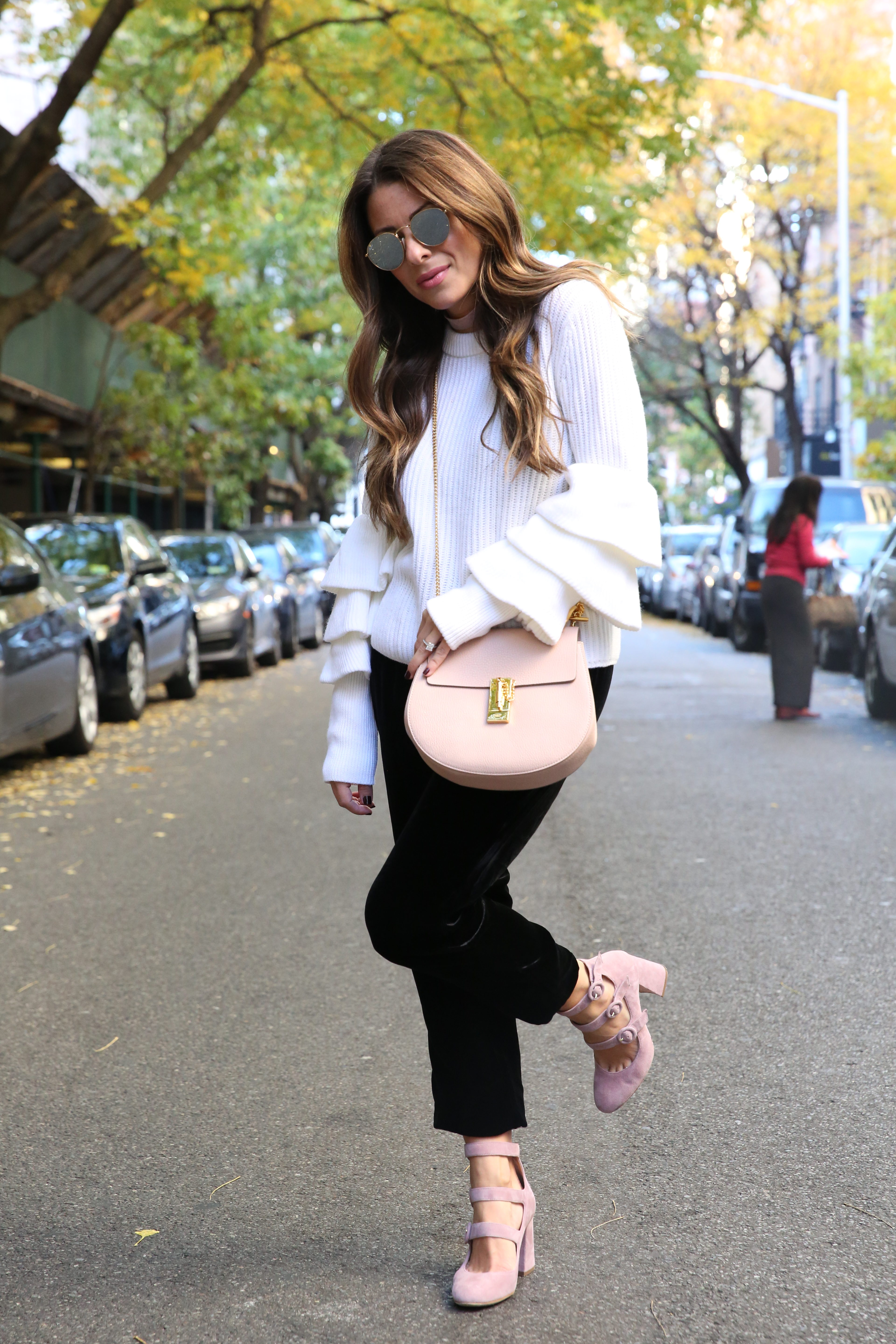 Arianna of Blake and Gold in a Club Monaco Sweater and Shoes