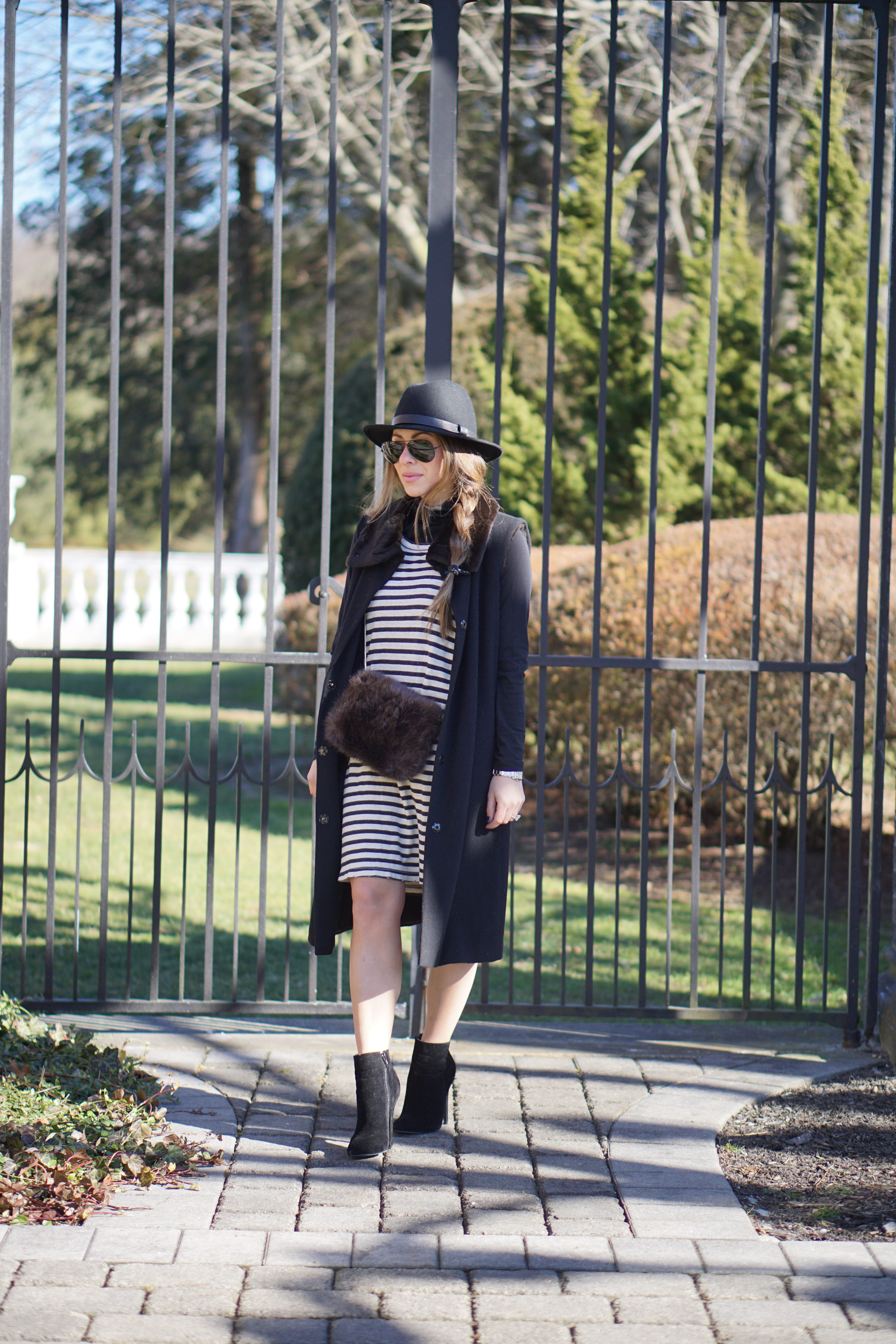 Arianna of the NYC Style Blog Blake and Gold wearing velvet booties