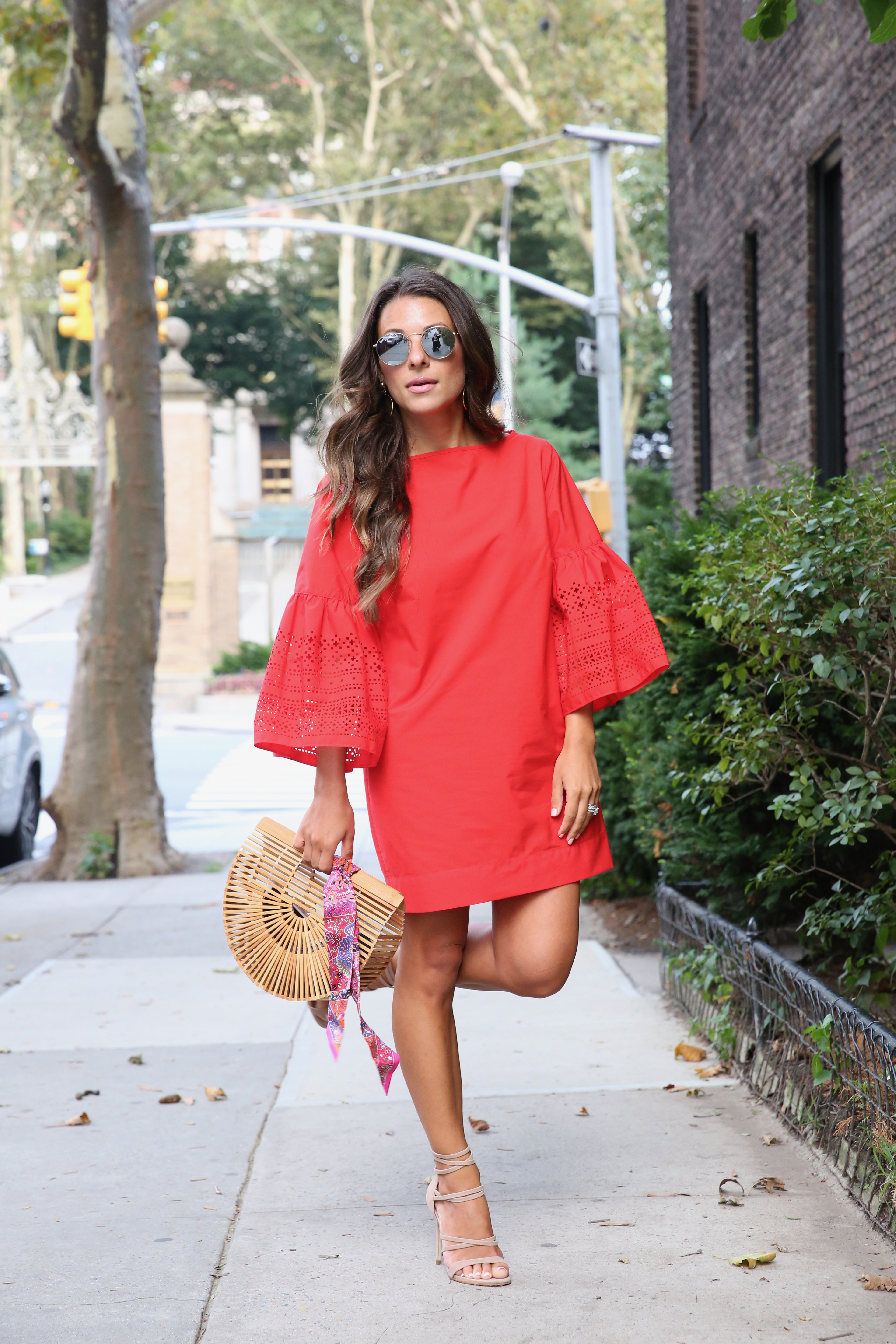 Lauren Ralph Lauren Red Bell Sleeve Dress from Macy's